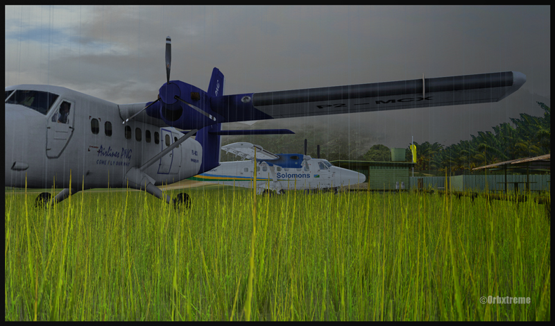 Twin Otters stationnés sur l'aéroport de Kokoda