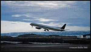 N795AL DC-8-63 Trans Ocean airborne runway 18 in Iqaluit in 1990