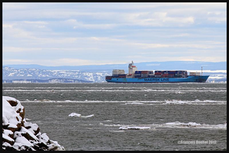 Le Maersk Patras sur le St-Laurent, à la hauteur de La Malbaie en 2012