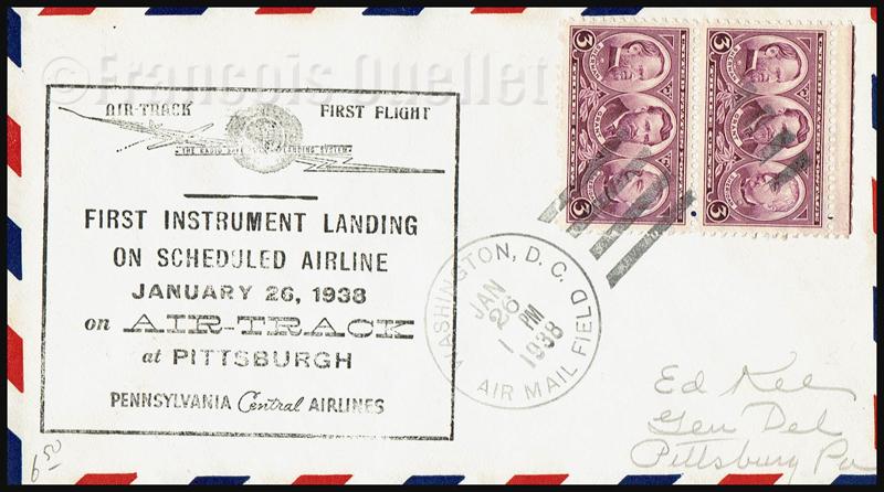 Poste aérienne. Premier atterrissage aux instruments aux États-Unis sur une compagnie régulière transportant des passagers. Washington Pittsburgh 1938