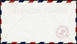 Dos d'une enveloppe de poste aérienne ayant été transportée lors du premier vol cédulé utilisant seulement un ILS aux USA en 1938