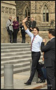 Le nouveau Premier Ministre désigné Justin Trudeau à son arrivée au Parlement d'Ottawa le 20 Octobre 2015