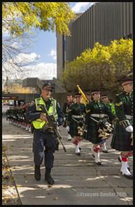 Parade de membres de l'unité d'infanterie Argyll and Sutherland Highlanders à Ottawa 2015