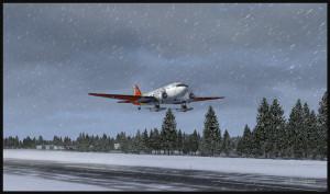 DC-3 sur skis au décollage de l'aéroport virtuel de Homer (PAHO) en Alaska (FSX)