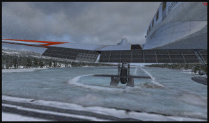 DC-3 virtuel sur skis au point de toucher le seuil de la piste de glace de Homer en Alaska (FSX)