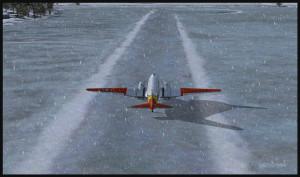 Un DC-3 virtuel sur skis remontant la piste de glace de Homer (PAHO) en Alaska (plateforme FSX)