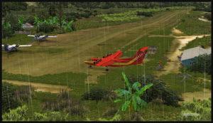 Un Dash 7 virtuel après son atterrissage sur l'aéroport de Woitape (WTP) en Papouasie Nouvelle-Guinée PNG (FSX)