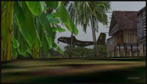 Un DHC-4 Caribou virtuel décolle de la piste en pente d'Asimba (ASB) en Papouasie Nouvelle-Guinée PNG (FSX)