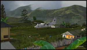 Un avion virtuel De Havilland DHC-7 circule après un atterrissage sur la piste en pente de l'aéroport de Fane (FNE) en Papouasie Nouvelle-Guinée PNG (FSX)