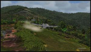 Un avion virtuel De Havilland DHC-7 décolle de la piste en pente de l'aéroport de Fane (FNE) en Papouasie Nouvelle-Guinée PNG (FSX)