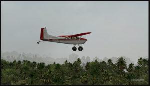 Un Cessna C-185F virtuel en route pour l'aéroport de Kosipe (KSP) en Papouasie Nouvelle-Guinée PNG (FSX)