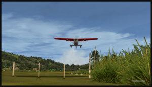 Un Cessna C-185F virtuel au décollage de la piste de Kosipe (KSP) en Papouasie Nouvelle-Guinée PNG (FSX)