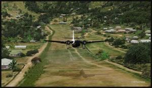 Un DHC-4 Caribou virtuel décolle de l'aéroport de Tapini (TAP) en Papouasie Nouvelle-Guinée PNG (FSX)