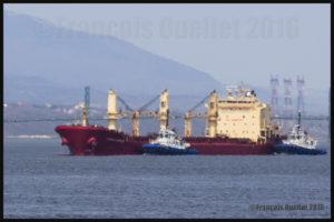 Effet de mirage froid. Navire et deux remorqueurs du groupe Ocean sur le St-Laurent approchant le Port de Québec, mai 2016