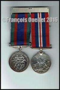 Médailles de guerre (service volontaire et service honorable durant la Deuxième Guerre Mondiale (1939-1945) du Canadien francophone Gaston Gagnon décédé en 2016