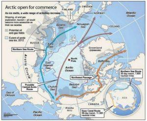 Carte géographique montrant les possibilités de route maritime passant par le Nord (Source: www.businessinsider.com)