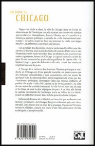 """Quatrième de couverture du livre """"Histoire de Chicago"""""""