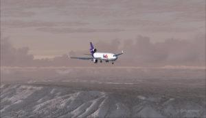 Un MD-11 de FedEx en longue finale piste 09 pour l'aéroport de Telluride (KTEX) (FSX)