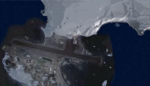 Vue aérienne de la station de recherche de Rothera en Antarctique.