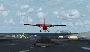 Avion Twin Otter en finale pour Rothera, Antarctique.
