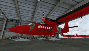 Intérieur du hangar principal de la station de recherche de Rothera, Antarctique.