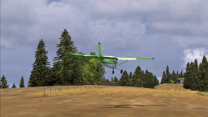 Le Cessna C-207 est en finale pour la piste de Limberlost Ranch