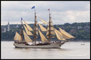 Le voilier trois-mâts Europa à son arrivée à Québec pour le RDV 2017