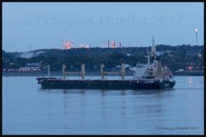 Le navire Harlequin devant la raffinerie Jean Gaulin de Lévis en 2017