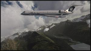 Avion virtuel CRJ-700ER (Aerosoft) de la compagnie aérienne Alaska Airlines au décollage de l'aéroport virtuel de Valdez (ORBX)