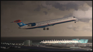 Avion virtuel CRJ-900ER (Aerosoft) de la compagnie U.S. Airways au décollage de l'aéroport virtuel de Denver (Flightbeam Studios)