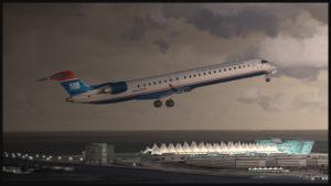 Avion virtuel CRJ-900ER (Aerosoft) de la compagnie U.S. Airways au décollage de l'aéroport virtuel de Denver (Flightbeam Studios)