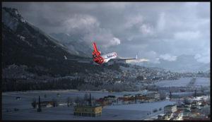 Le MD-11F virtuel de PMDG avec 50 degrés de volets en finale pour la piste 08 à Innsbruck