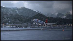 Arrivée du MD-11F virtuel conçu par PMDG sur la piste 08 à Innsbruck