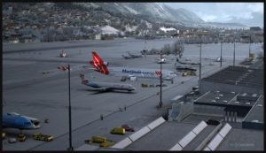 MD-11F virtuel conçu par PMDG stationné à l'aéroport d'Innsbruck en Autriche