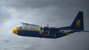 Le C-130 Hercules perd un premier moteur.