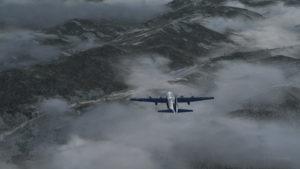Avion virtuel C-130 Hercules avec trois moteurs en panne en route vers l'aéroport de Bonners Ferry.