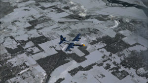 Virtual C-130 Hercules aircraft with three engine failures, by the Bonners Ferry's runway.
