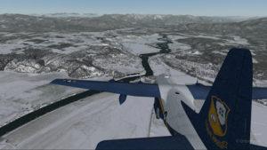 Avion Lockheed C-130 Hercules virtuel avec quatre moteurs en panne en approche pour l'aéroport virtuel de Bonners Ferry (65S).