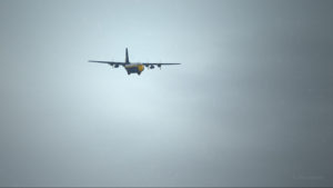 View of the Lockheed C-130 Hercules with four engine failures, on the approach for Bonners Ferry (65S).