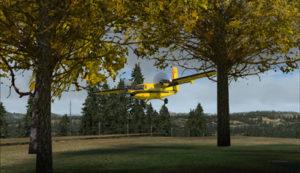 Approche du Twin Otter C-FOPG pour la courte piste de Limberlost Ranch