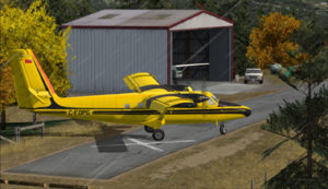 Virtual aircraft belonging to the Ontario provincial government turning around on the Limberlost Ranch runway.