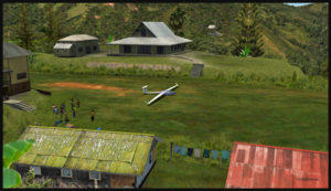 Glider on the Fane Parish short grass runway in Papua New Guinea.