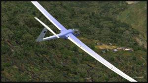 Vol avec planeur virtuel au-dessus d'un village isolé de Papouasie Nouvelle-Guinée