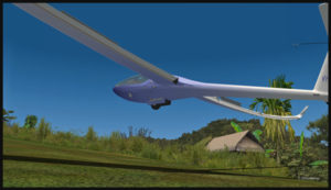 Virtual glider arriving over the Fane Parish runway in Papua New Guinea. The airbrakes are being used.