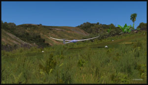 Virtual glider with airbrakes over the Fane Parish runway
