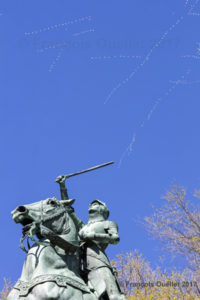Jeanne d'Arc and the snow geese. Parc Jeanne d'Arc, Quebec City, 2017.