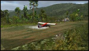Un aéronef Otter remonte la piste à rebours après un atterrissage sur la piste en pente de Launumu.