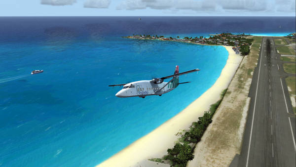 The Shorts 360 is airborne from the Princess Juliana Intl airport.