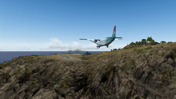 The Shorts 360 is on short final for runway 12 at the Juancho E. Yrausquin airport.
