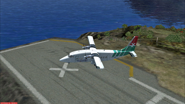 The Shorts 360 after its landing on runway 12 at the Juancho E. Yrausquin airport.